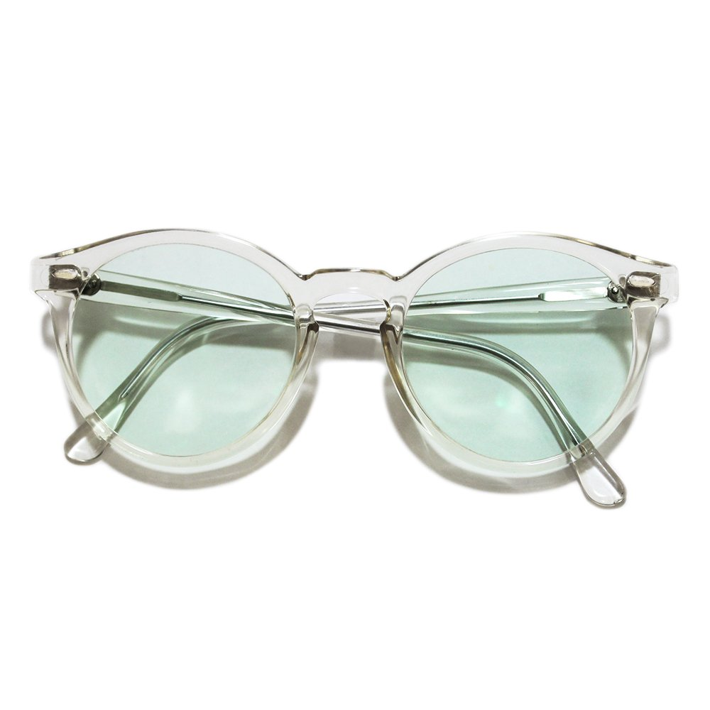【Deadstock】 Vintage 1980's French Boston Glasses Crystal Clear -25% Green Breeze Color Lens-