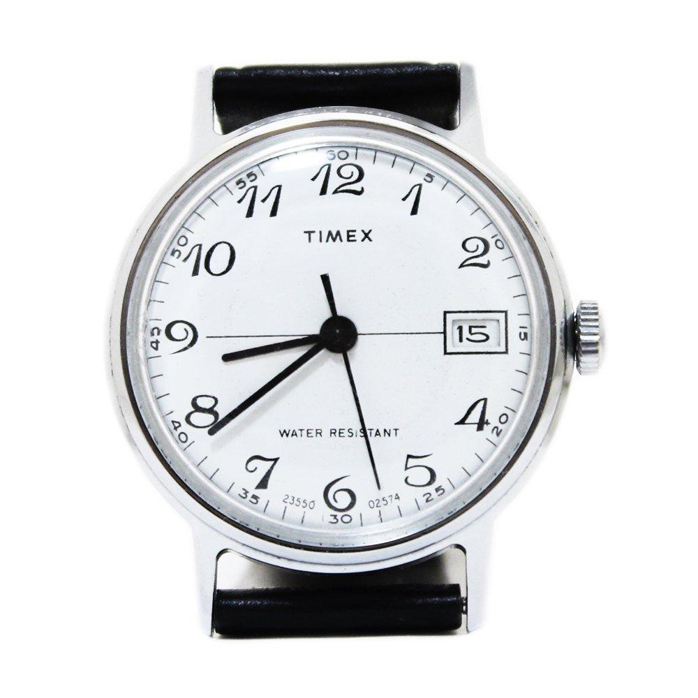 Vintage 1970's TIMEX Wrist Watch Hand-winding -White × Black-
