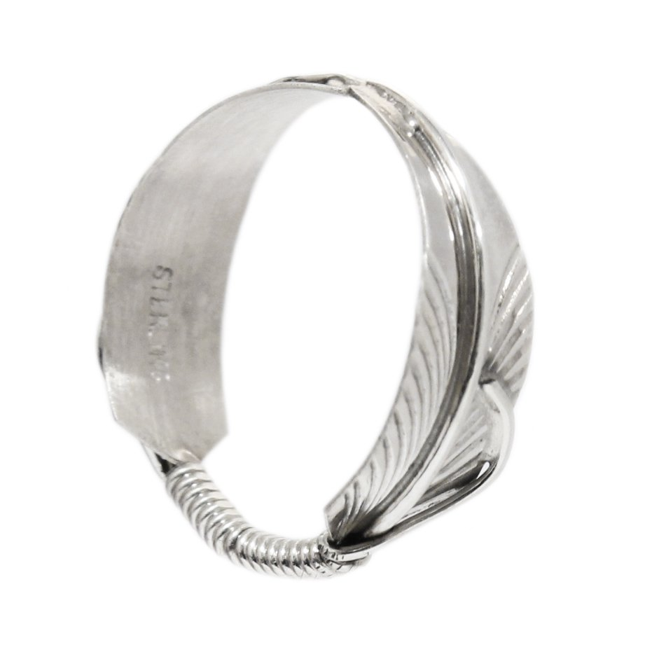 Navajo Indian Jewelry Double Feather Ring -925 Sterling Silver-