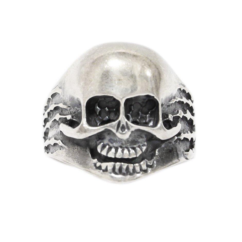 Vintage Biker Skull Ring -925 Sterling Silver-