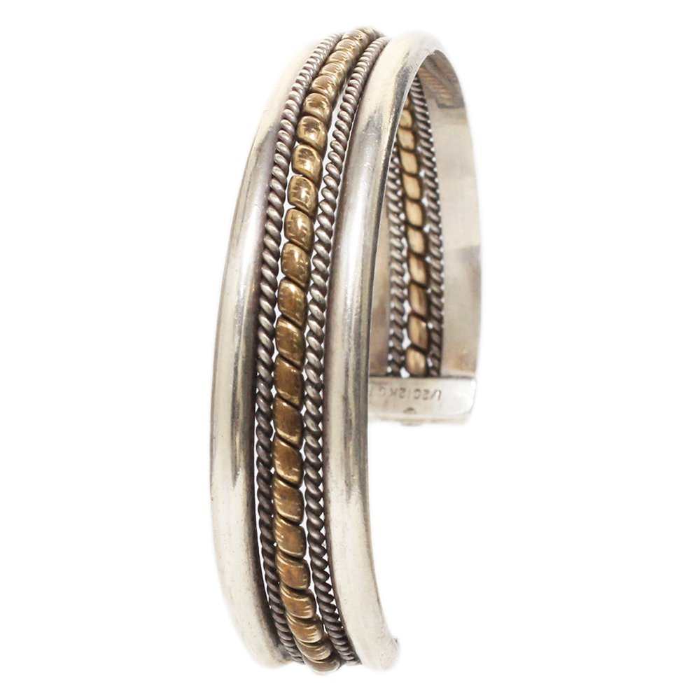 Vintage Navajo 12K Gold Wire Bangle -13mm wide-