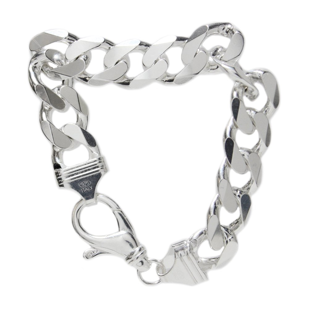 Italy 925 Silver Heavy Chain Bracelet -15mm wide-