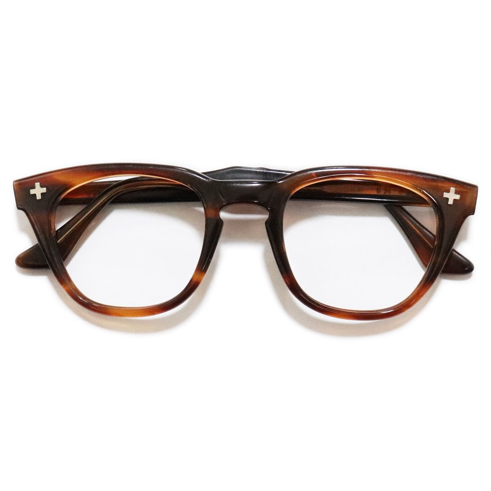 Vintage 1950's ADEN Cross Eyeglasses Amber -Made in U.S.A.-