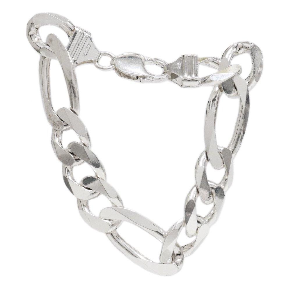 Italy 925 Silver Heavy Figaro Chain Bracelet -13mm wide-