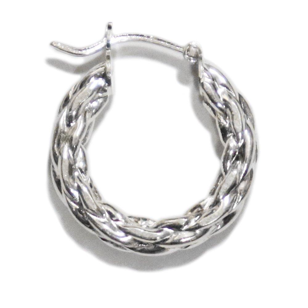 Italy 925 Silver Braided Twist Hoop Earring -1 Pair-