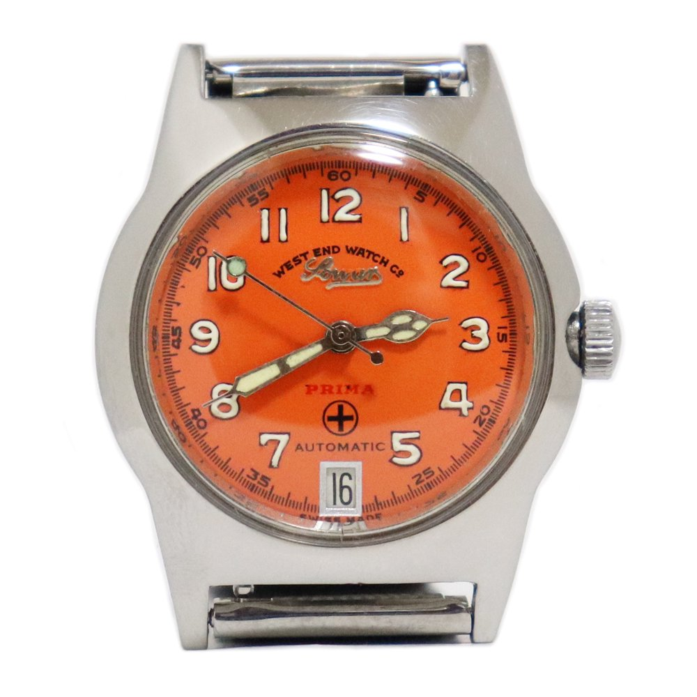 Vintage 1970's West End Watch Co. Sowar British Military Watch -Orange-