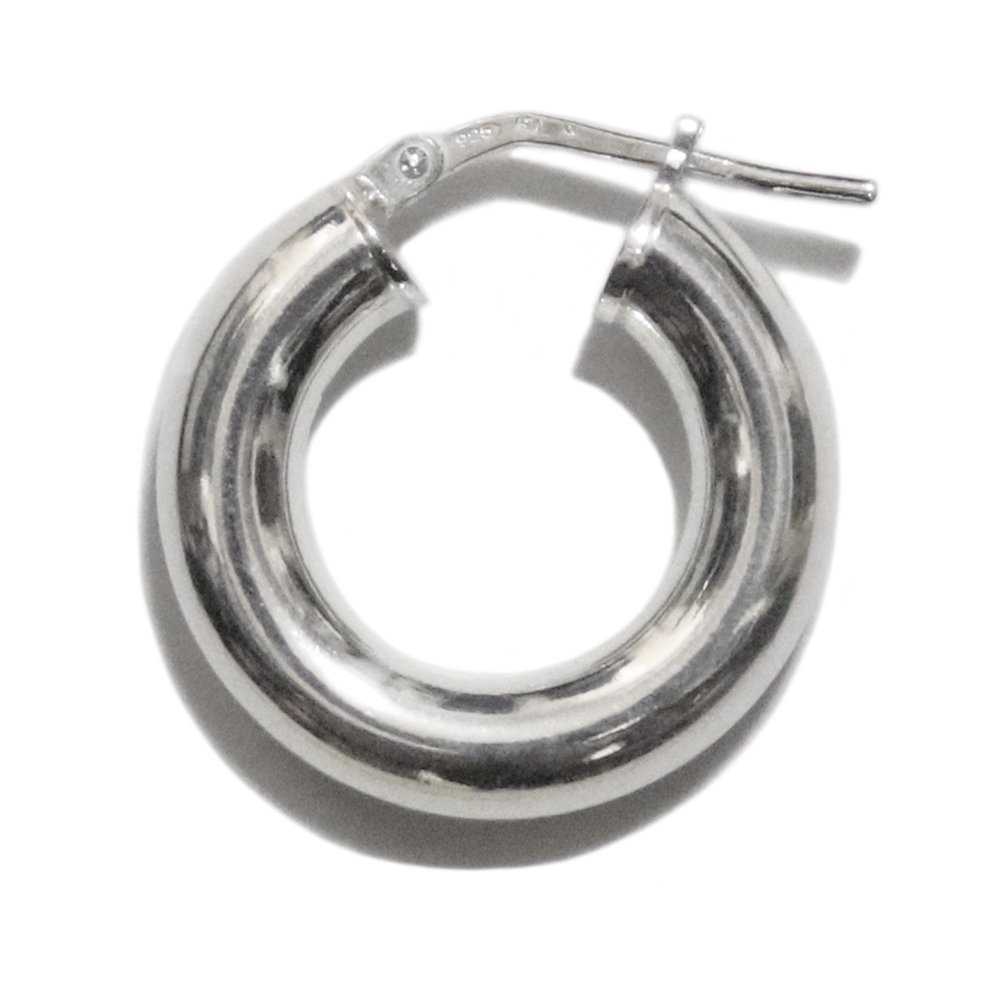 Italy 925 Silver Plain Fat Hoop Earring -1 Pair-