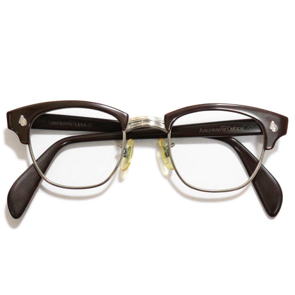 Vintage 1960's American Optical Browline Eyeglasses Brown -Made in U.S.A.-