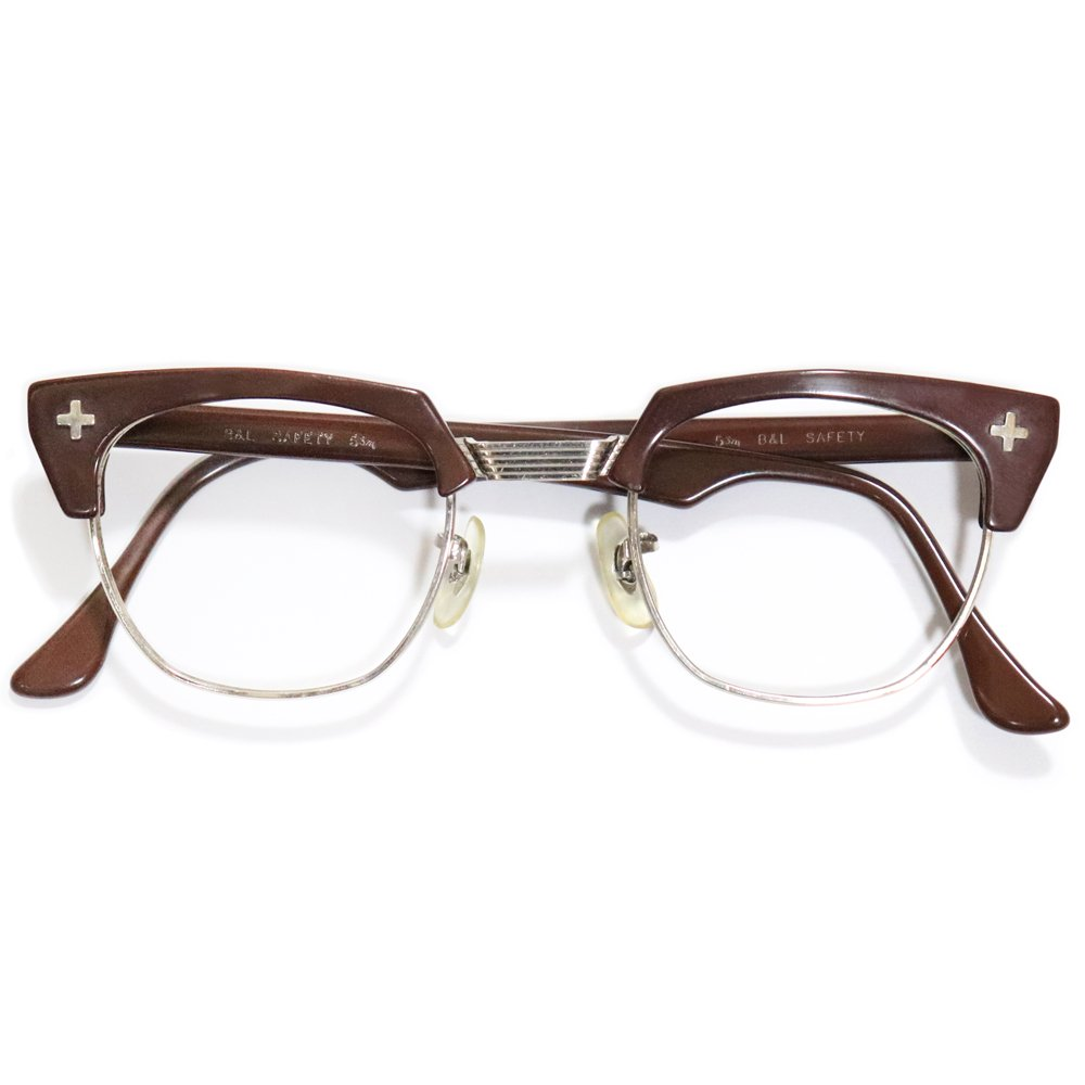 Vintage 1950's Bausch&Lomb Browline Safety Glasses Chocolate Brown -Made in U.S.A.-