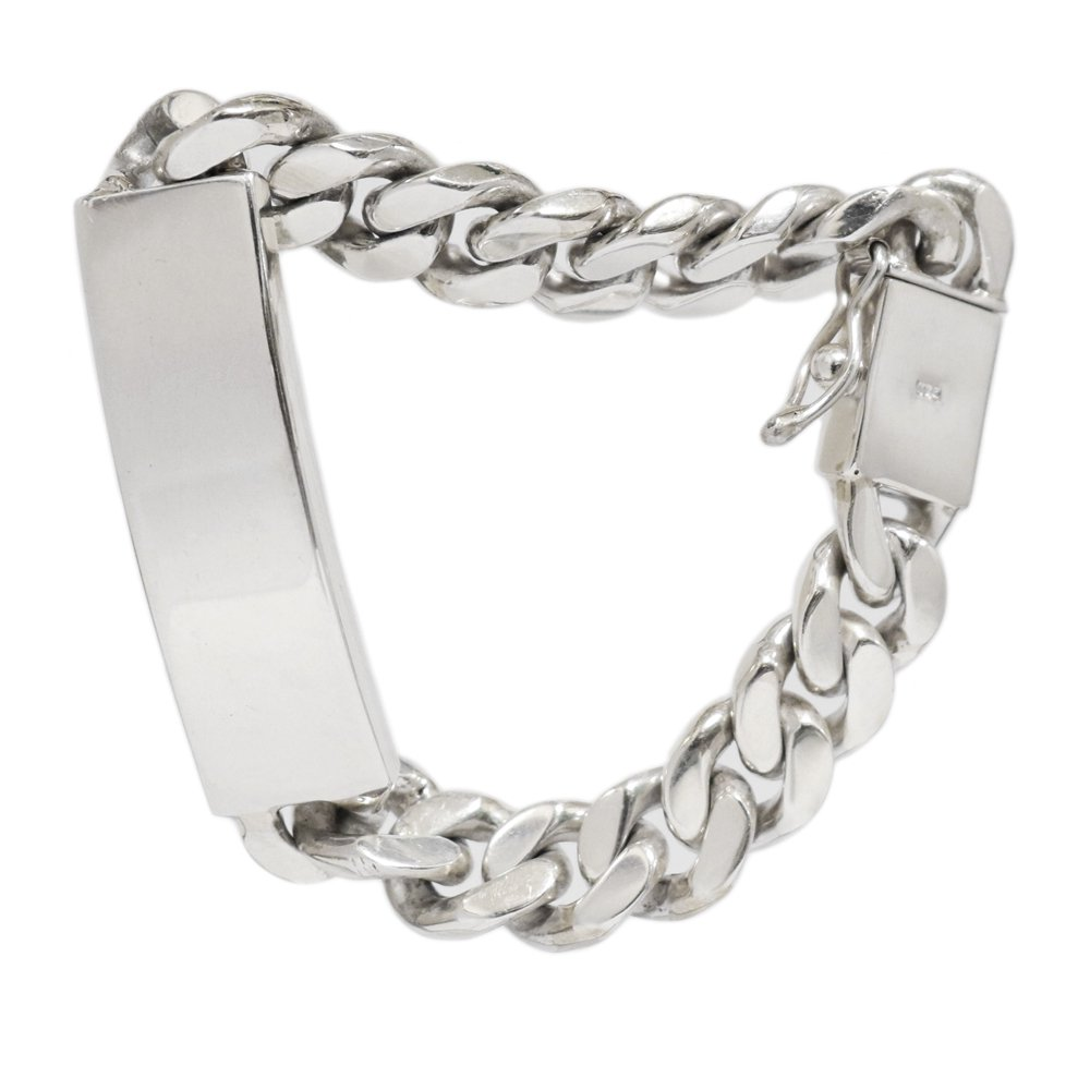 Silver 925 Heavy Chunky Curb Link Chain ID Bracelet