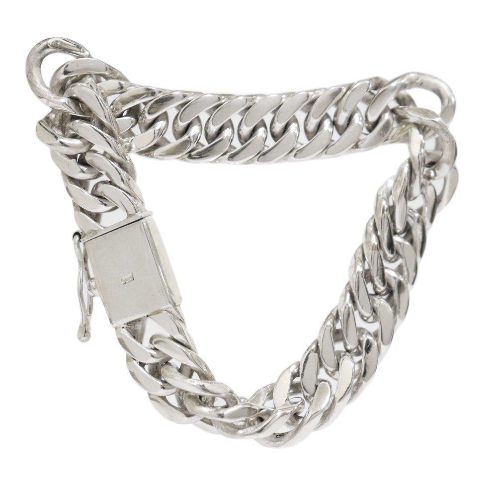 Silver 925 Heavy Double Curb Link Chain Bracelet