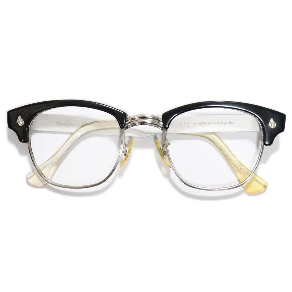 Vintage 1960's American Optical Browline Eyeglasses Black -Made in U.S.A.-