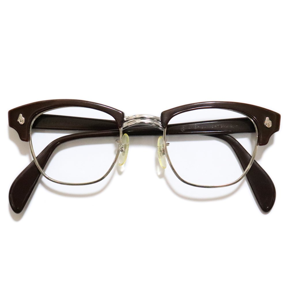 Vintage 1960's American Optical Browline Eyeglasses Brown -Made in U.S.A-