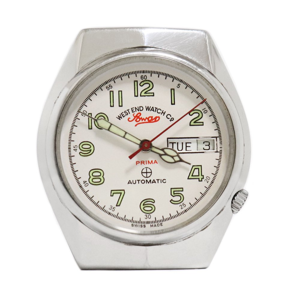 Vintage 1970's West End Watch Co. Sowar British Military Watch White -with Calender-