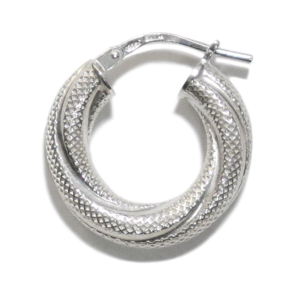 Italy 925 Silver Twist Mesh Fat Hoop Earring -1 Pair-