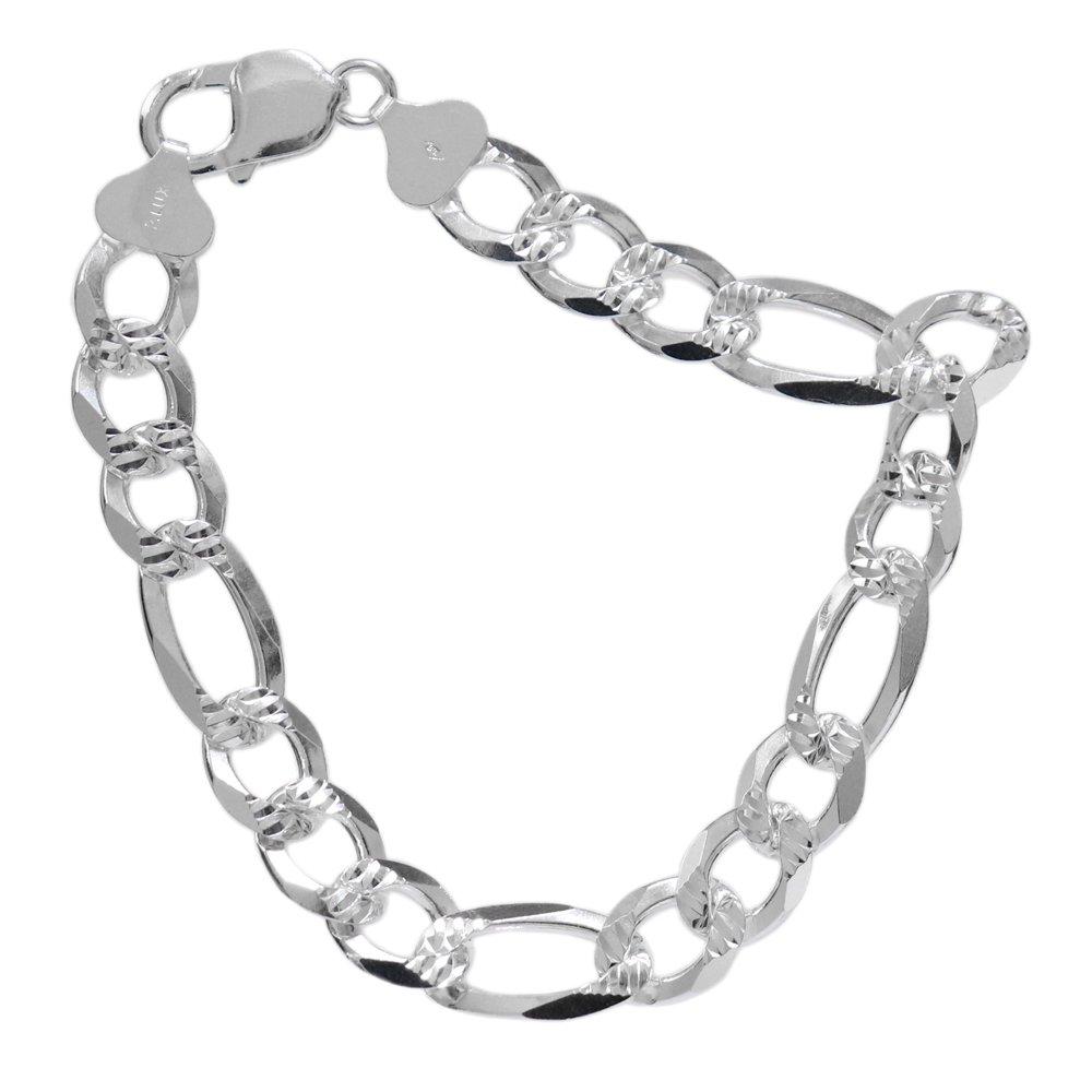 Italy 925 Silver Diamond Cut Figaro Chain Bracelet -10mm wide-