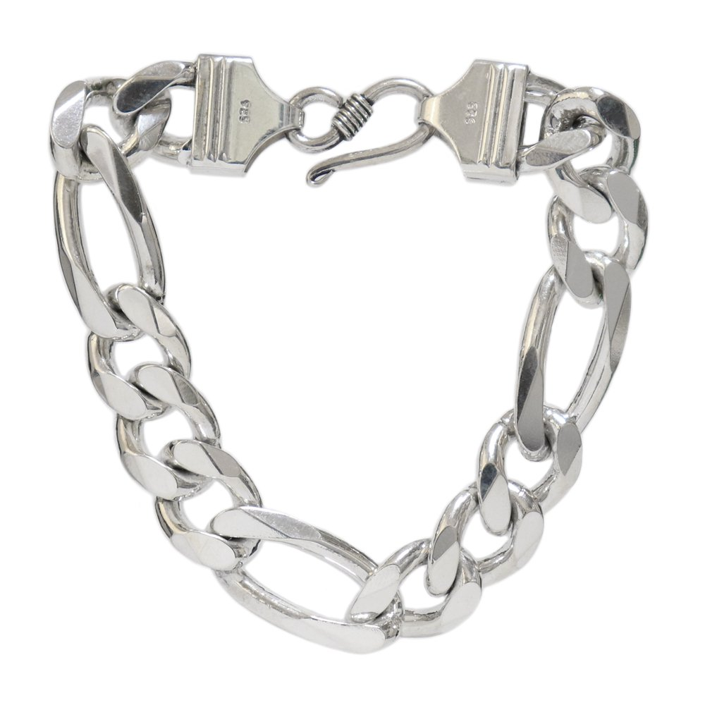 Silver 925 Heavy Thick Figaro Chain Bracelet -length 20cm × 17mm wide-