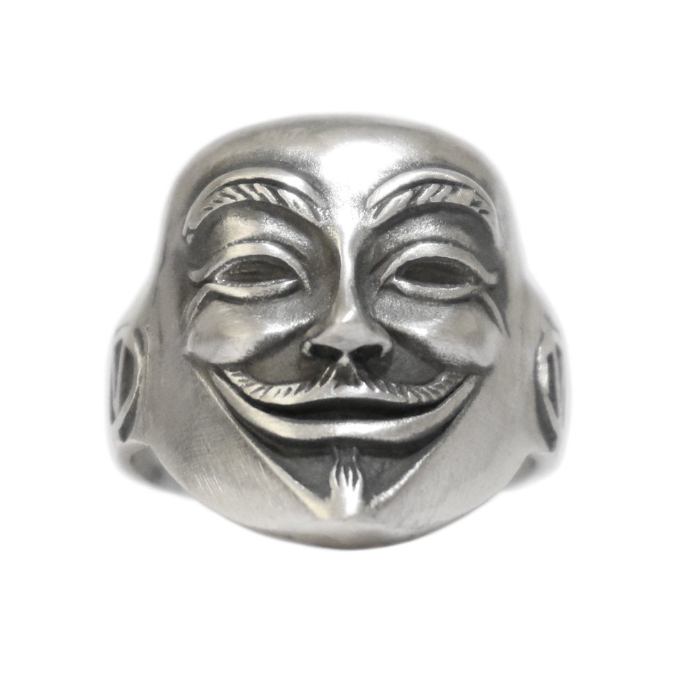Silver 925 Guy Fawkes Anonymous Mask Ring