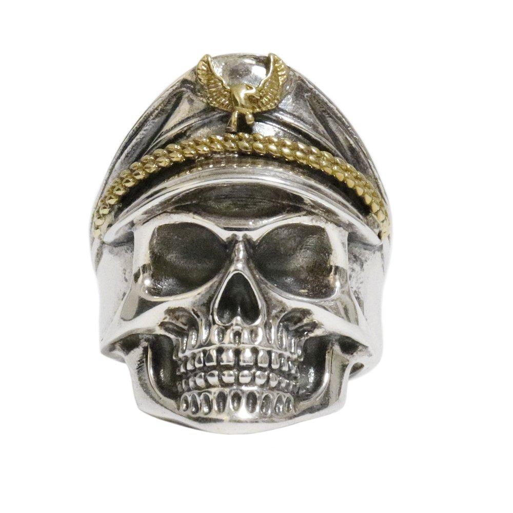 Silver 925 Captain Skull Biker Ring