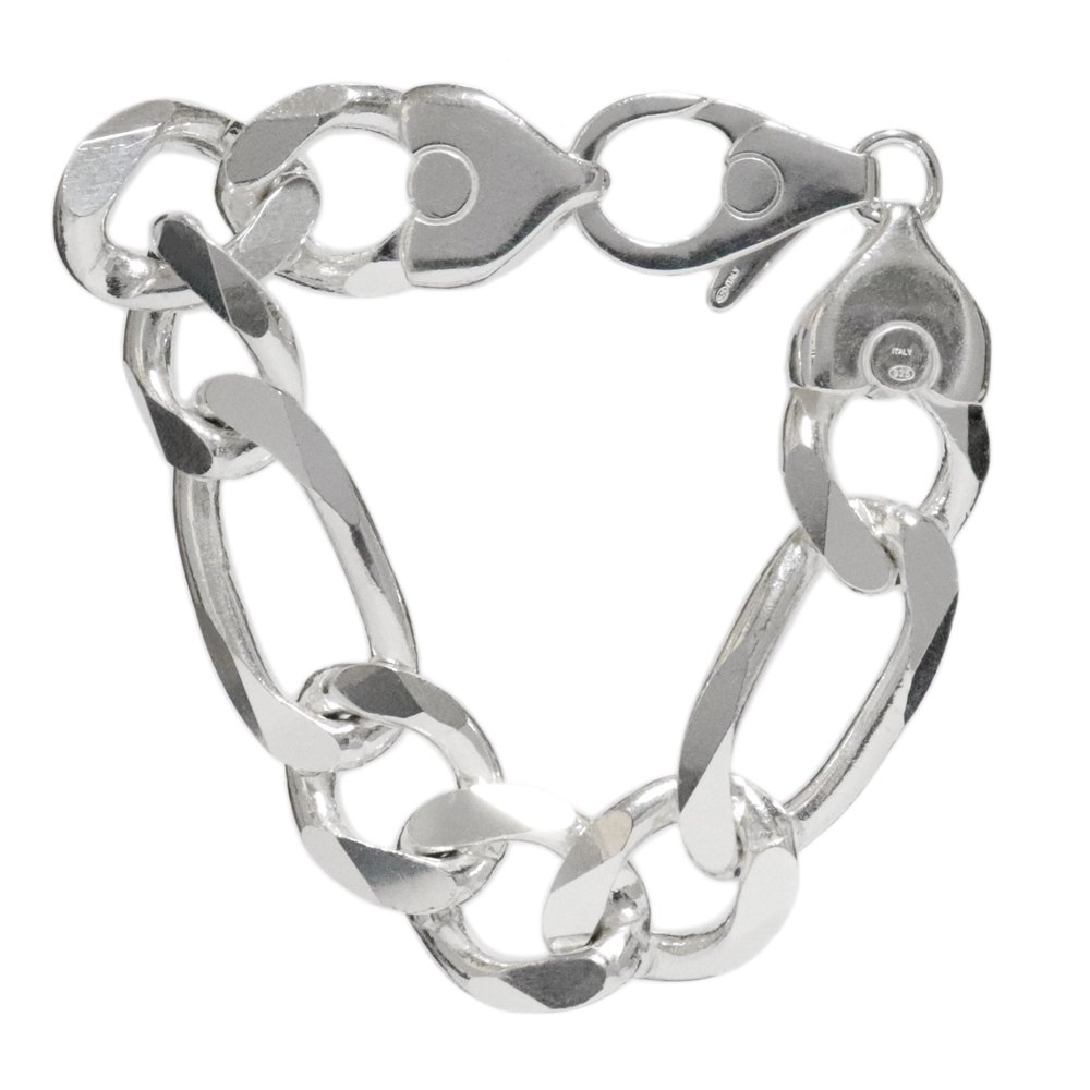 Italy 925 Silver Heavy Thick Figaro Chain Bracelet -18mm wide-