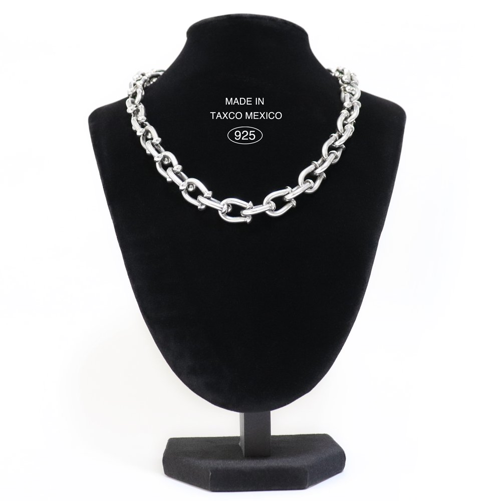 Taxco Mexican 925 Heavy Toggle Chain Necklace -46cm / 125g-