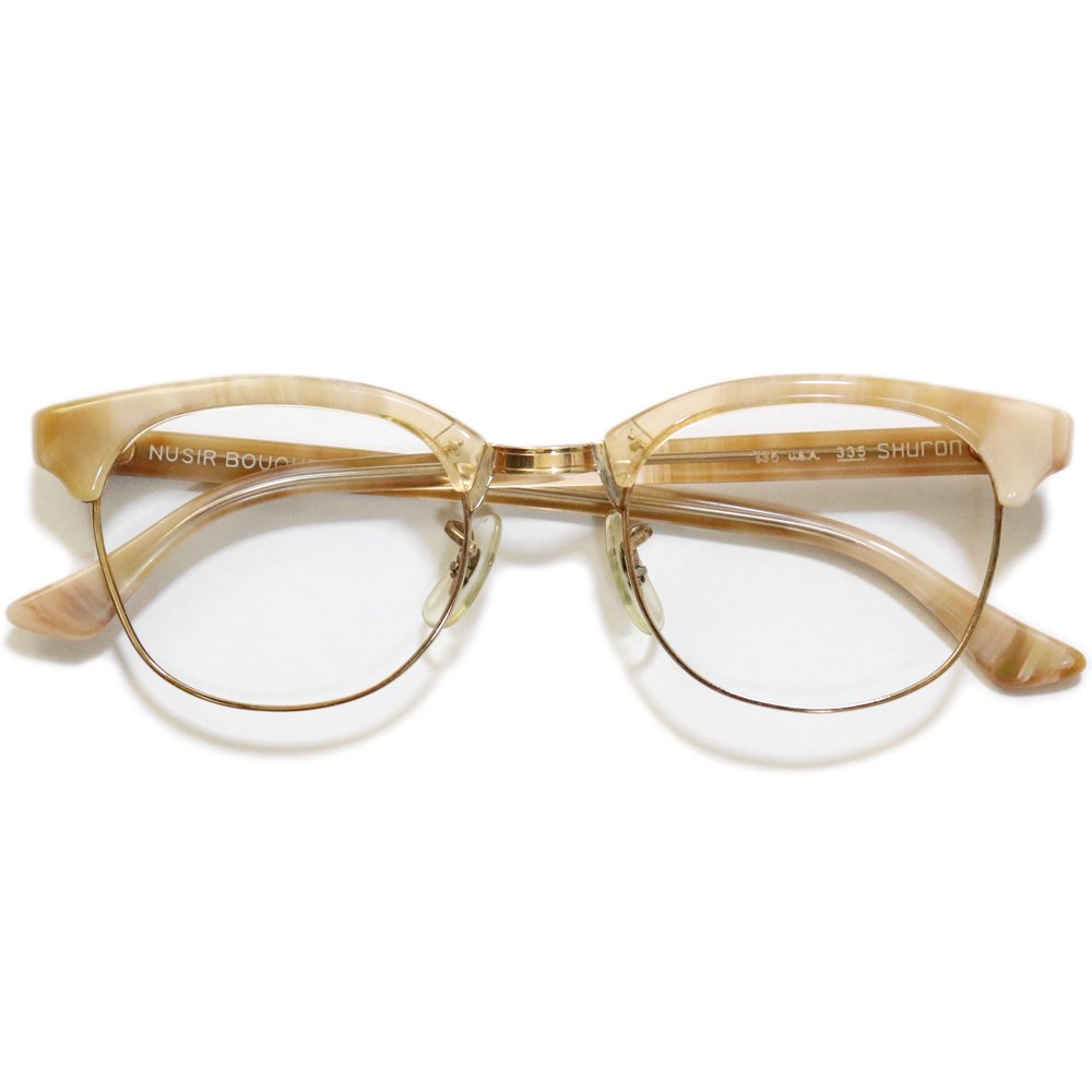 Vintage 1970's Shuron Nusir Bouquet Browline Eyeglasses -Marble Beige × Gold-