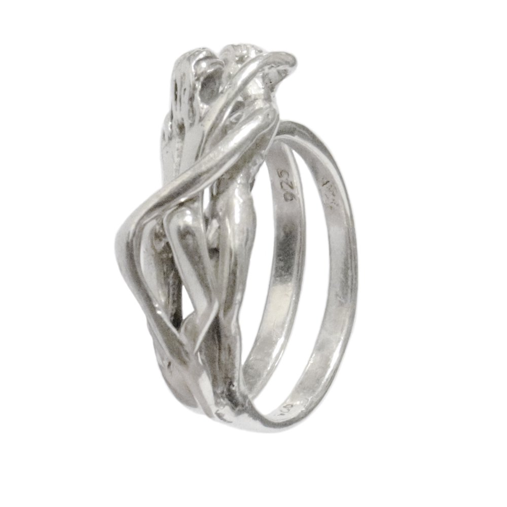 Taxco Mexico 925 Kissing Lovers Nude Ring
