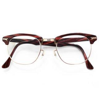 Vintage TITMUS 1950's Brown Wood Browline Eyeglasses -12KGF-