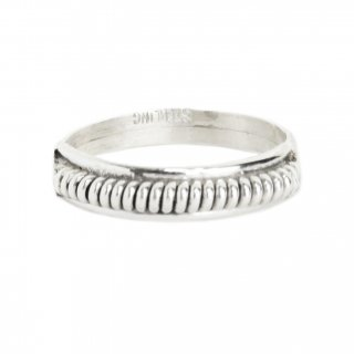 Navajo Indian Jewelry Rope Ring -Sterling Silver-