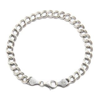 Vintage Italy Double Eight Chain Bracelet -Sterling Silver-