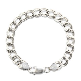 Vintage Italy Double Eight Chain Bracelet -8mm Medium Weight-