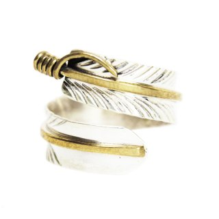 Navajo Indian Jewelry Feather Ring -Sterling Silver & Gold Filled-