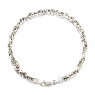 Vintage Itary Twist Helix Link Chain Bracelet -Sterling Silver-
