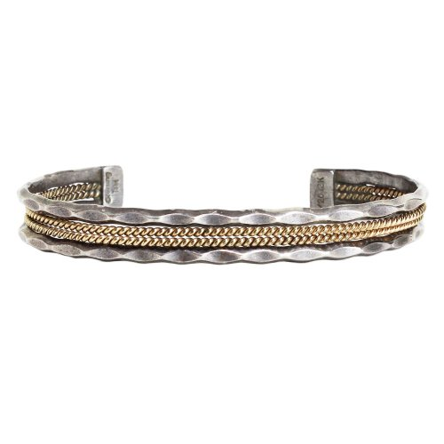 Navajo Indian Jewelry Cut Out Coiled 12K Gold Cuff Bracelet -Tahe-