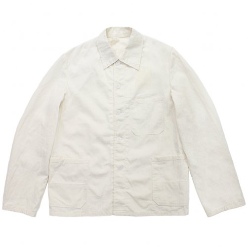 Vintage 70's French Herringbone White Work Jacket