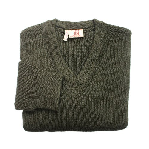 【Dead Stock】Vintage 1970's French Army V-Neck Sweater