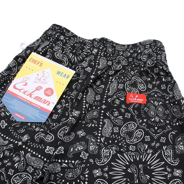 COOKMAN Chef Short Pants Paisley BLACK 10