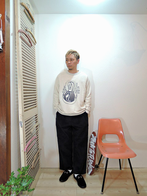 "tops/SUNNY SPORTS-""GPSY""FREEDOM CREW-NECK(SIZE M)tee/LOCALINA-FLATSEAM L/S TEE(SIZE 1)pants/modem design-SIDE LINE EASY CORDUROY PANTS(M-1707556)(SIZE 2)shoes/MANEBU-""BITCH""SUEDE(SIZE 40)を使ったコーディネート"