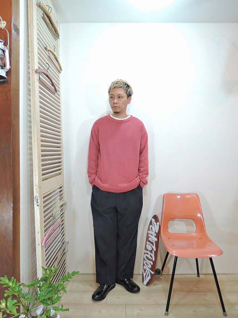 "tops/modem design-SANDWASH COTTON KNIT(M-1707252)(SIZE 2)tee/LOCALINA-FLATSEAM L/S TEE(SIZE 1)pants/modem design-SIDE LINE EASY CORDUROY PANTS(M-1707556)(SIZE 2)shoes/MANEBU-""ROAR""FACE SKIN(SIZE 40)を使ったコーディネート"