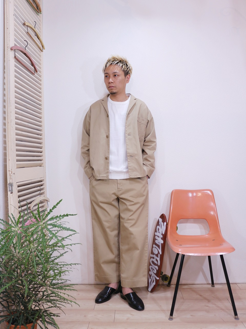 outer/SUNNY SPORTS-PAJAMA JACKET(SIZE M)tee/FRUIT OF THE LOOM-SWEAT STYLE L/S TEE(SIZE M)pants/SUNNY SPORTS-PAJAMA PANTS(SIZE M)を使ったコーディネート