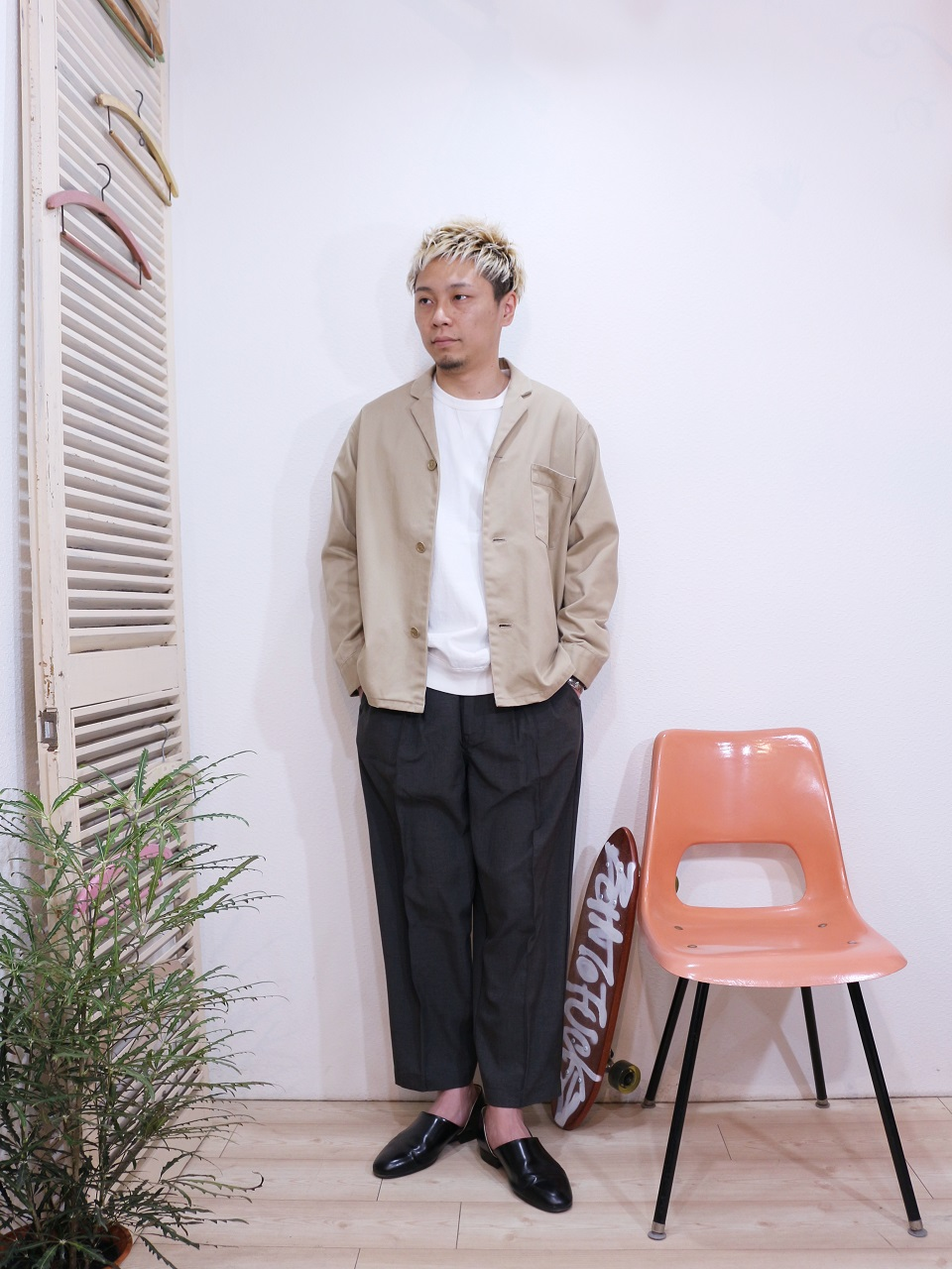 outer/SUNNY SPORTS-PAJAMA JACKET(SIZE M)tee/FRUIT OF THE LOOM-SWEAT STYLE L/S TEE(SIZE M)pants/Kelen-Affleck(SIZE 38)を使ったコーディネート