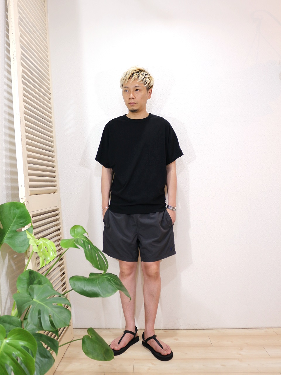 tee/melple-Salt Creek ドルマンクルーS/S(SIZE S)pants/melple-Lotus ショーツ(SIZE S)shoes/SUICOKE-COKO(US 8)を使ったコーディネート