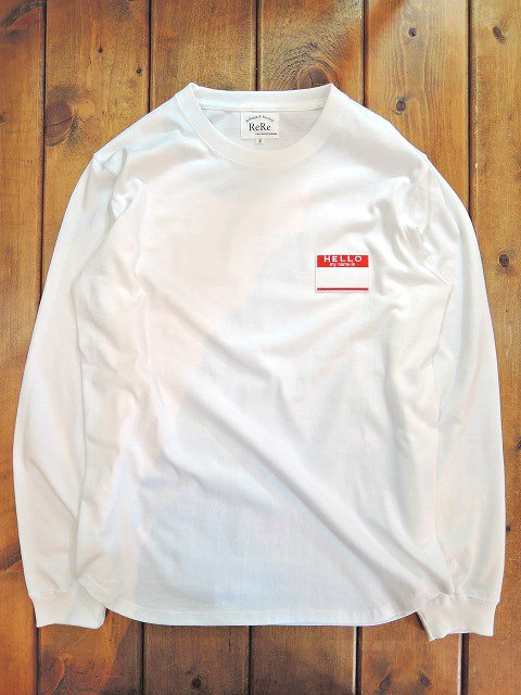 【ReRe】HELLO PATCH L/S ROUND TEE【DM便発送可能】
