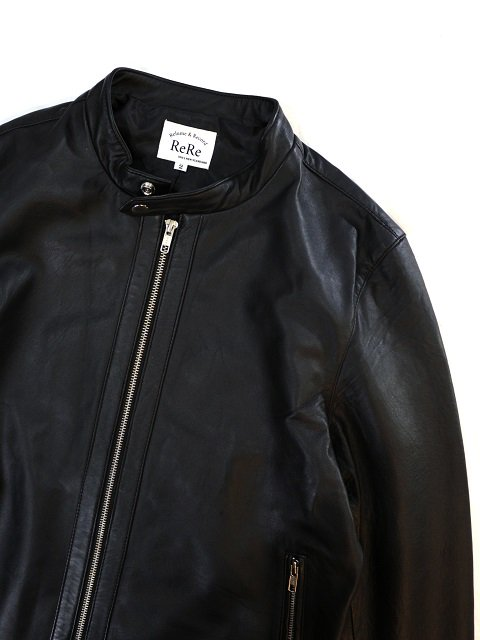 【ReRe】LAMBSKIN SINGLE RIDERS JACKET:画像4