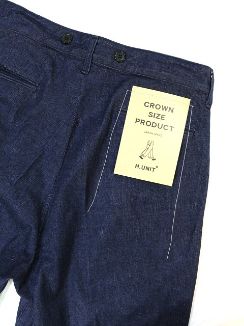 【H.UNIT】Denim crown size tuck trousers:画像2