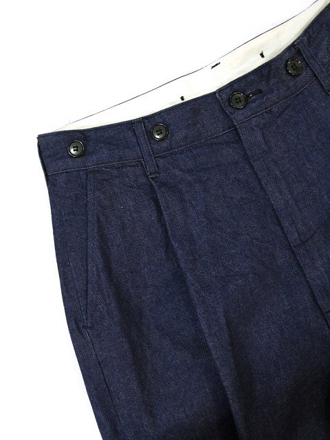 【H.UNIT】Denim crown size tuck trousers:画像3