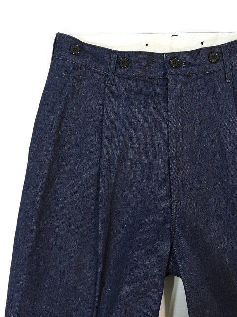 【H.UNIT】Denim crown size tuck trousers
