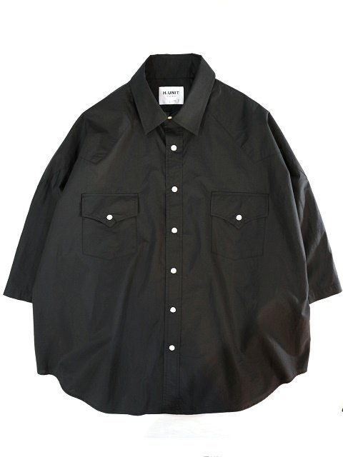 【H.UNIT】Typewriter western dolman short sleeves shirt:メイン画像