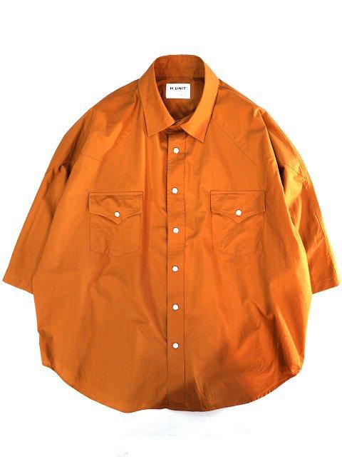 【H.UNIT】Typewriter western dolman short sleeves shirt:メイン画像