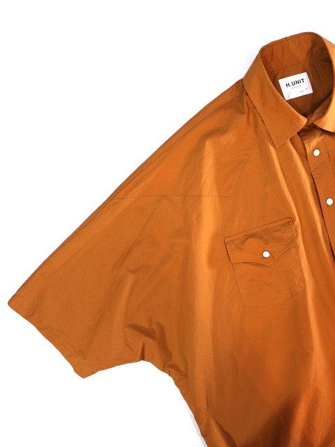 【H.UNIT】Typewriter western dolman short sleeves shirt:画像2